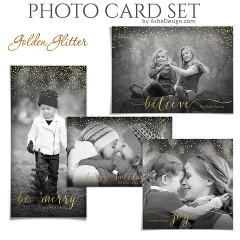 Christmas Photo Card Set - Golden Glitter
