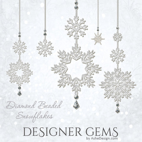 Designer Gems - Diamond Beaded Snowflakes