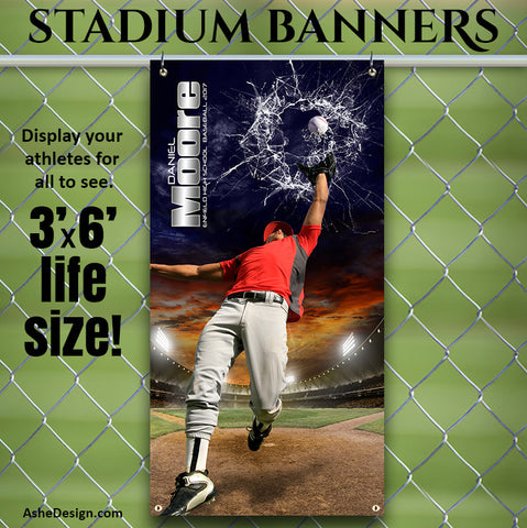 Amped Stadium Banner 3'x6' - Smashing Through Baseball