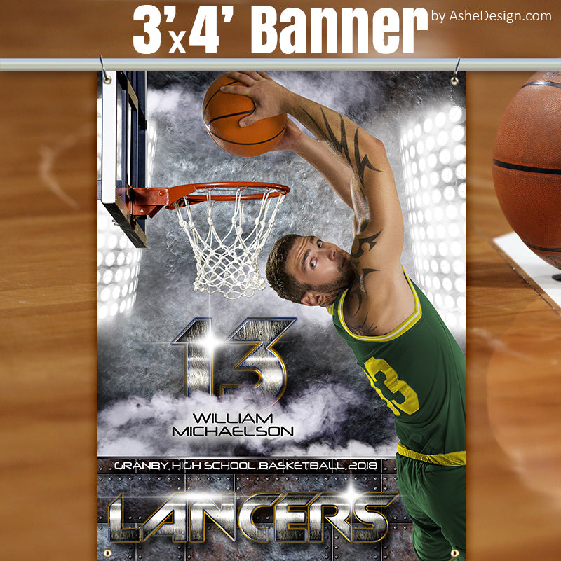 Ashe Design 3x4 Sports Banner - Armor Basketball