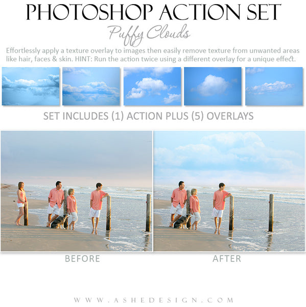 Photoshop Action Overlays | Puffy Clouds1