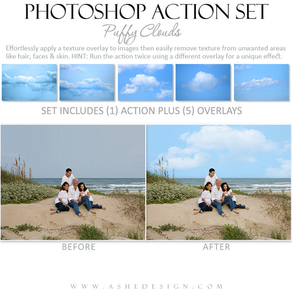 Photoshop Action Overlays | Puffy Clouds2