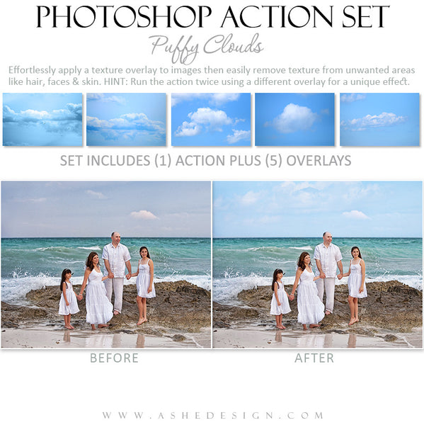 Photoshop Action Overlays | Puffy Clouds3