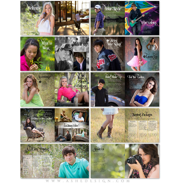 8x8 Soft Cover Marketing Photo Book | Senior Style Guide pages