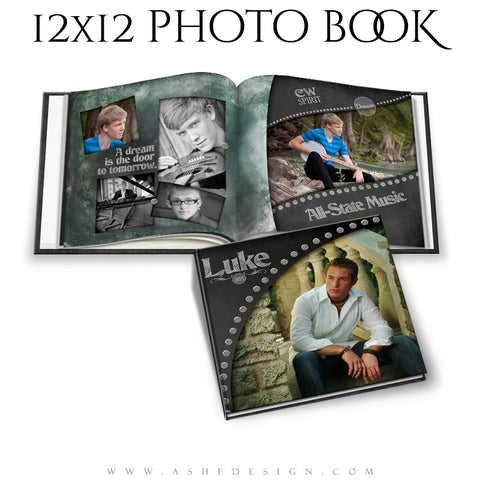Photo Book Template 12x12 | Chalkboard Senior Boy cover