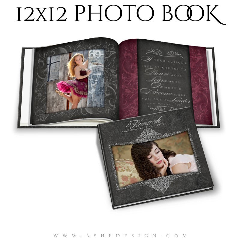 Photo Book Template 12x12 | Chalkboard Senior Girl cover