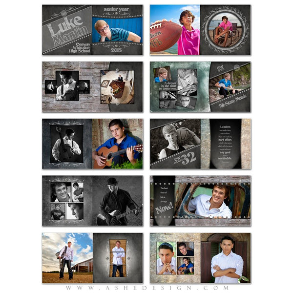 Photo Book Template 12x12 | Chalkboard Senior Boy pages
