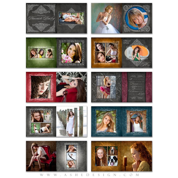 Photo Book Template 12x12 | Chalkboard Senior Girl pages