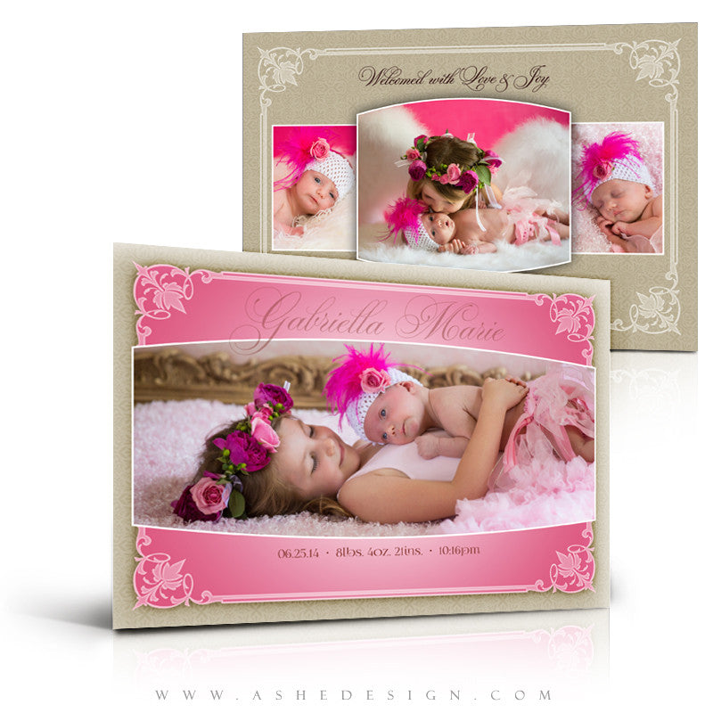 Elegant Edges 5x7 Flat Birth Announcement Templates