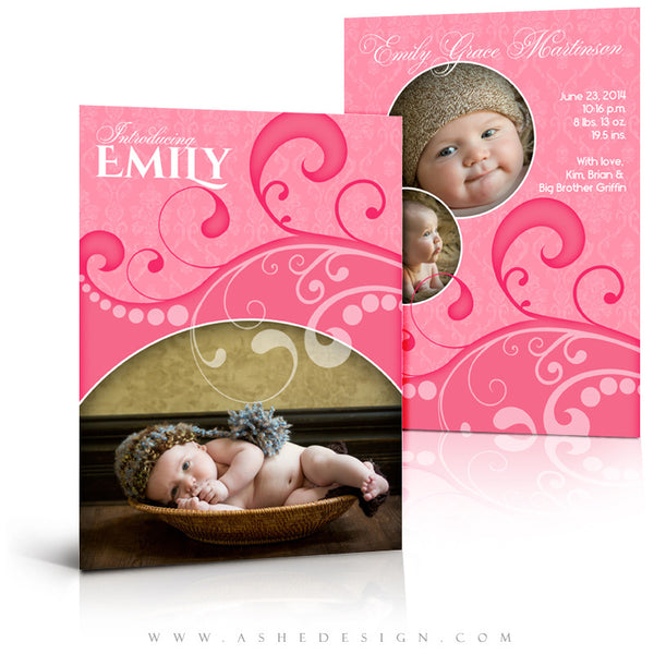 Damask Swirls 5x7 Flat Birth Announcement Templates