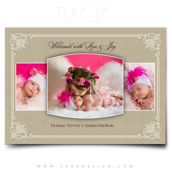 Elegant Edges 5x7 Flat Birth Announcement Template back