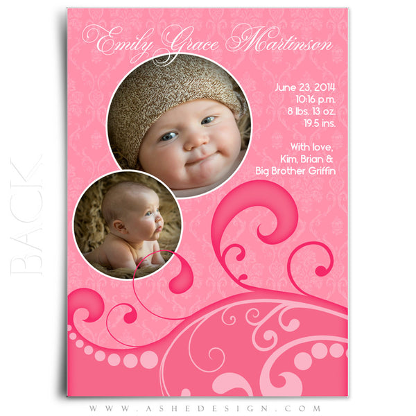 Damask Swirls 5x7 Flat Birth Announcement Templates back