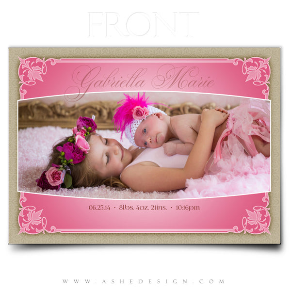 Elegant Edges 5x7 Flat Birth Announcement Template front