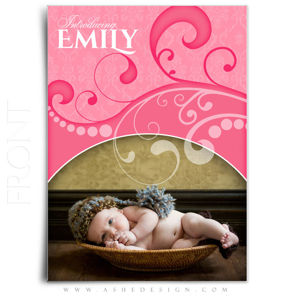 Damask Swirls 5x7 Flat Birth Announcement Templates front
