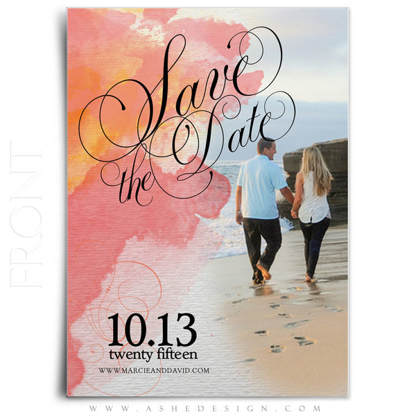 Save The Date Photography Templates | Watercolor front