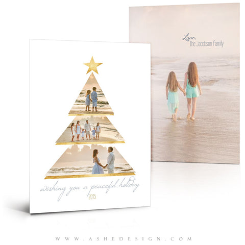 Christmas Card 5x7 Flat | Gold Foil Holiday 3D