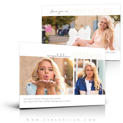 Ashe Design | 5x7 Senior Girl Graduation Invite