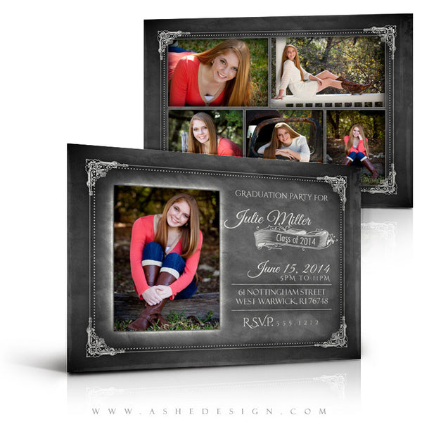 Chalkboard Sr Girl 2014 - 5x7 Flat Card full set web display