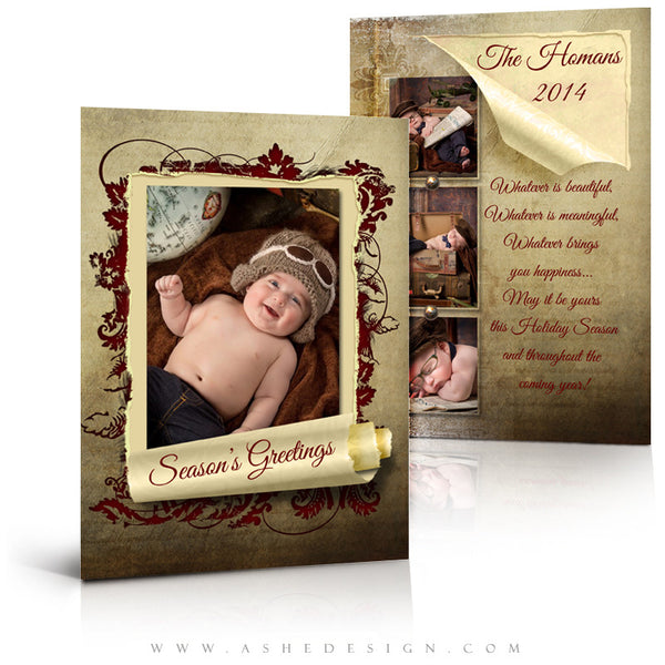 Christmas Card Photoshop Templates | Scrolled Holiday