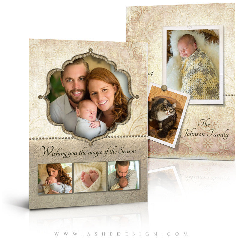 Christmas Card Photoshop Templates | Victorian Garden 2014