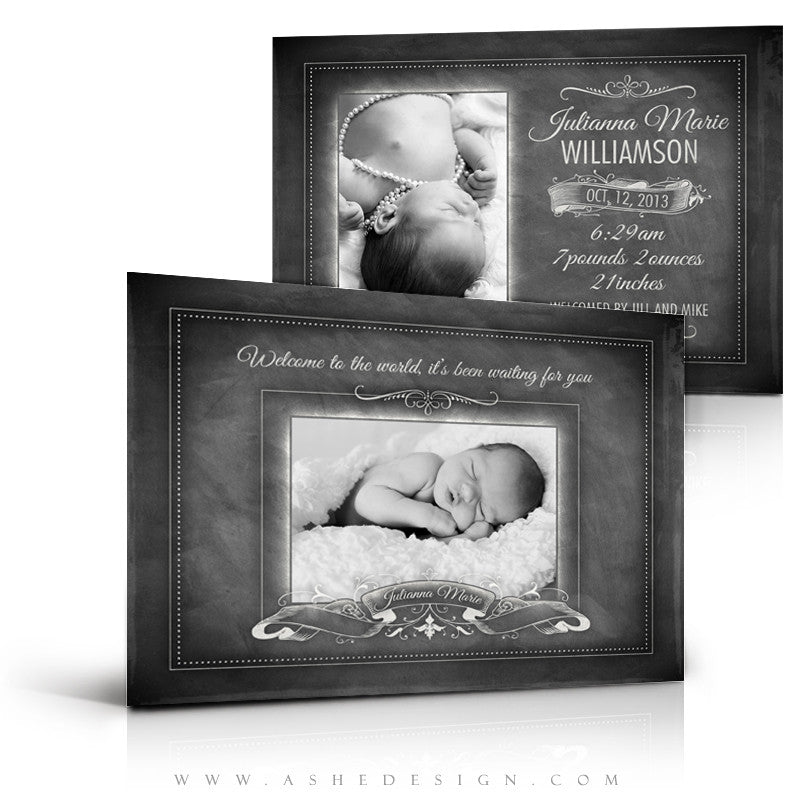 Chalkboard Baby Girl 5x7 Flat Birth Announcement full web display