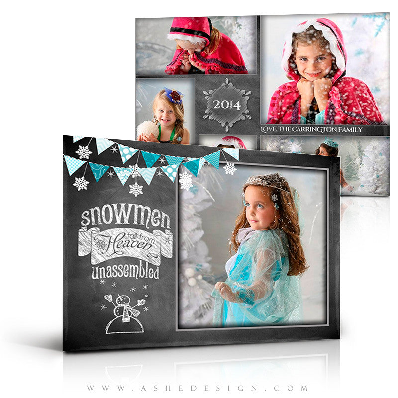 Christmas Card Photoshop Templates | Chalkboard Snowmen