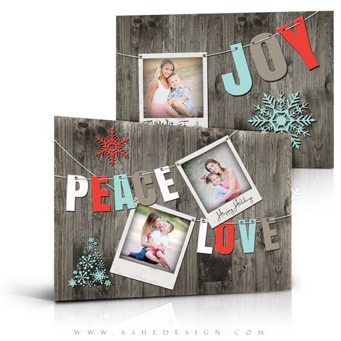Christmas Card Photoshop Templates | Holiday Pennant