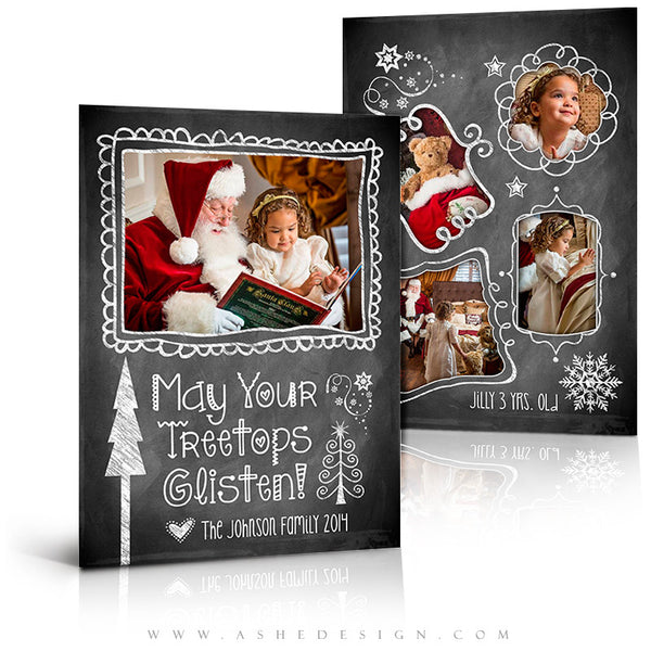 Christmas Card Photoshop Templates | Chalkboard Doodle Frames