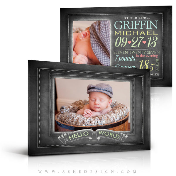 Chalkboard Baby Boy -5x7 Flat Card Full set web display