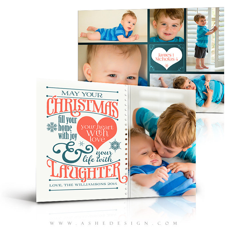 Christmas Flat 5x7 Card Templates | Christmas Laughter