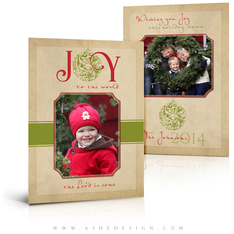 Christmas 5x7 Flat Card Templates | Joy To The World