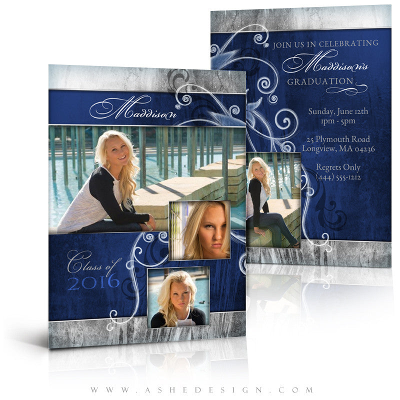 Girl Graduation Invitation | Blue Steel