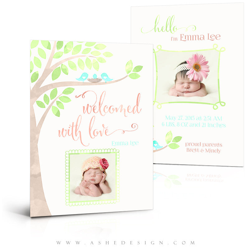 Birth Announcement 5x7 | Watercolor Baby Emma 3D