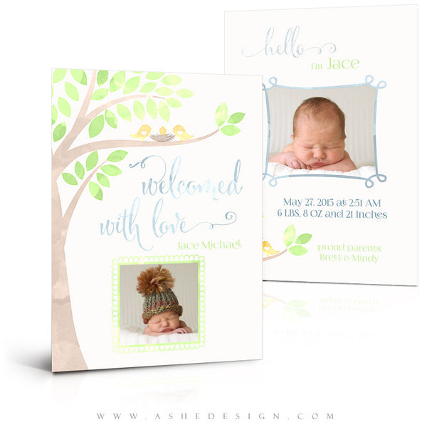 Birth Announcement 5x7 Flat | Watercolor Baby Jace 3D