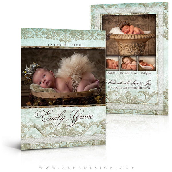 Tiffany Damask 5x7 Flat Birth Announcement Templates