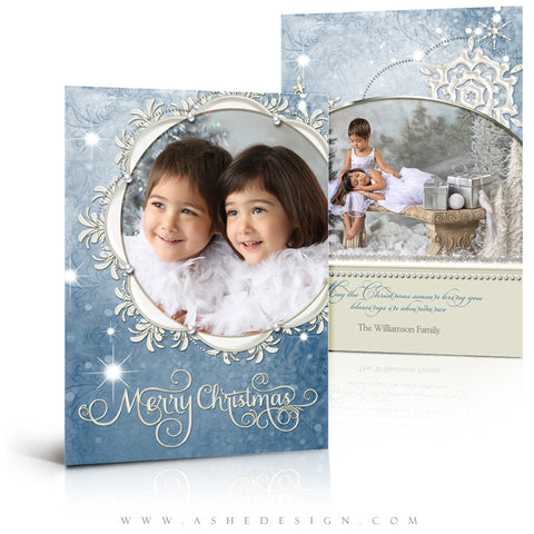Christmas Card Template | Snow Dust Pearl