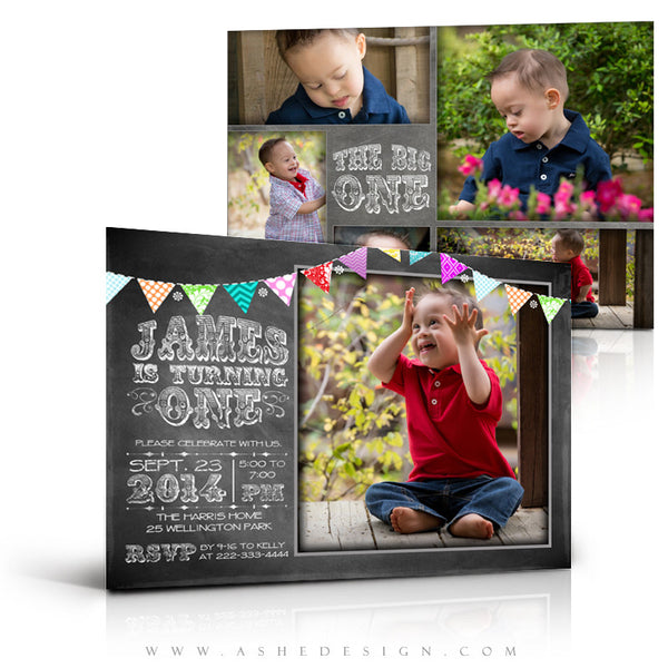 First Birthday Invitation Templates | Chalkboard Banner