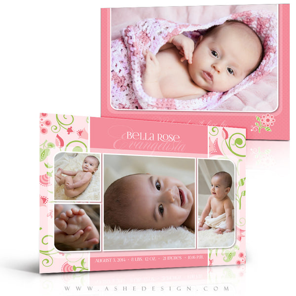 Birth Announcement 5x7 Flat | Bella Rose