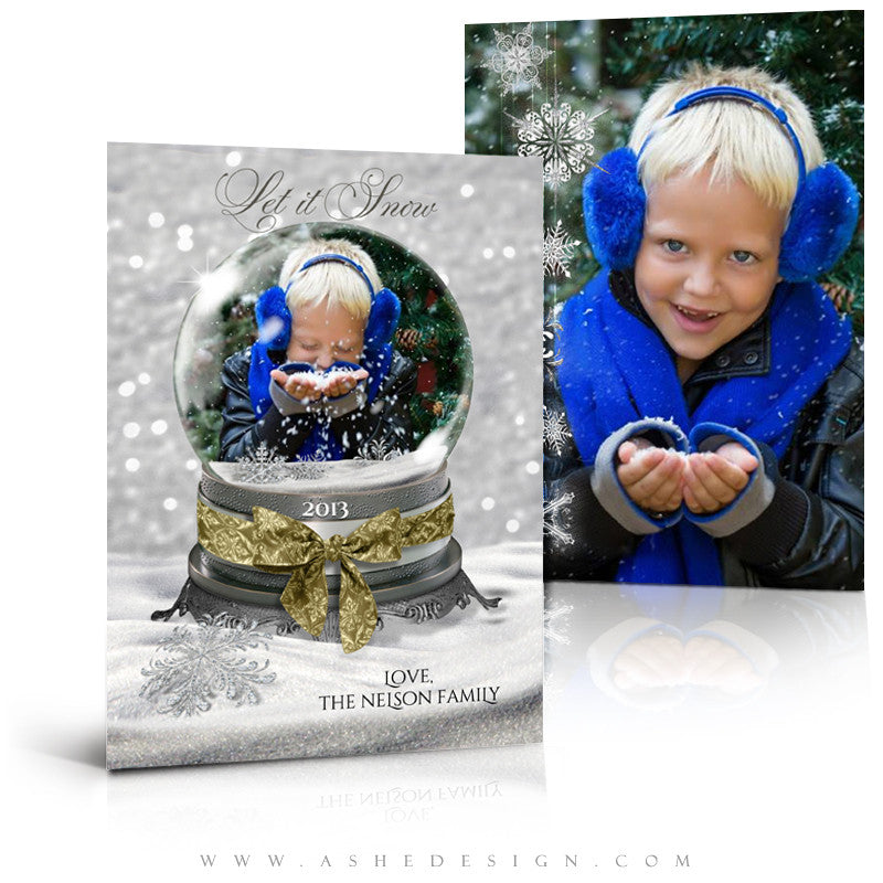 Snow Globe - Let It Snow 5x7 flat card Full Set web display
