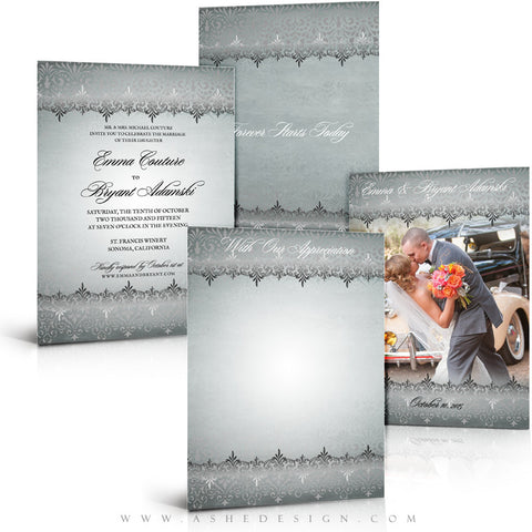 Antique Damask Wedding Invitation & Thank You Template Set