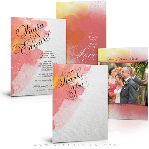 Watercolor Wedding Invitation & Thank You Template Set
