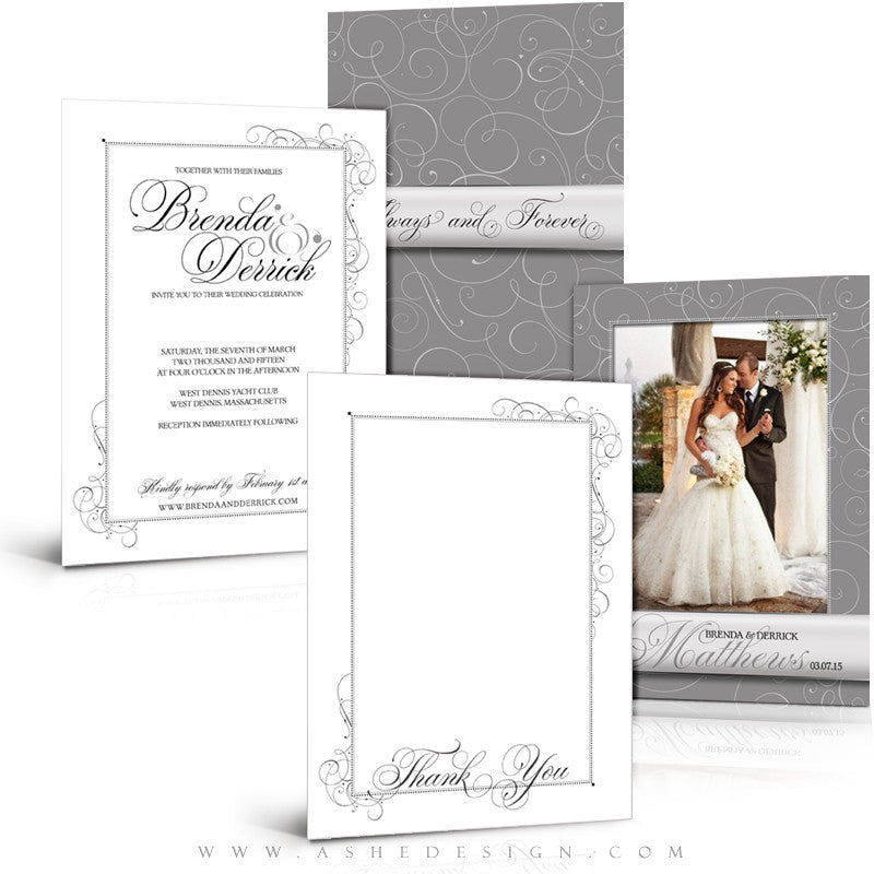 Always & Forever Wedding Invitation/Thank You Template Set