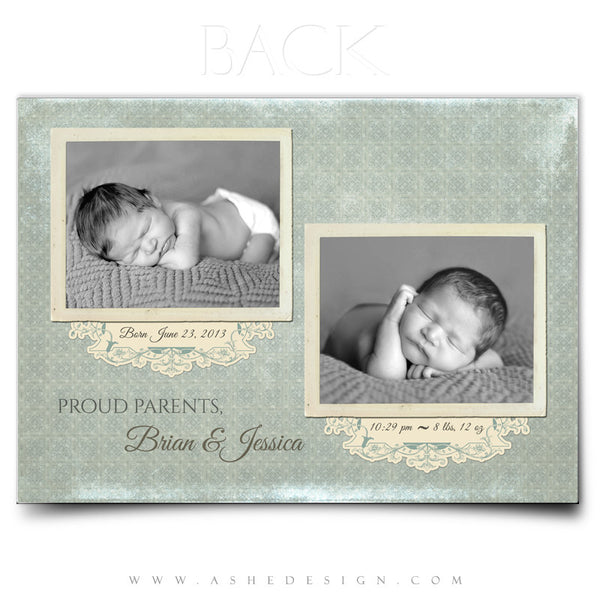 5x7 Flat Birth Announcement - Parker Elliot
