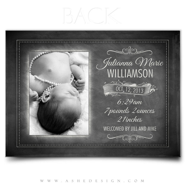 Chalkboard Baby Girl 5x7 Flat Birth Announcement Back web display