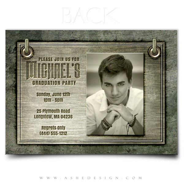 Senior Boy Announcement 5x7 | Engraved Metal back