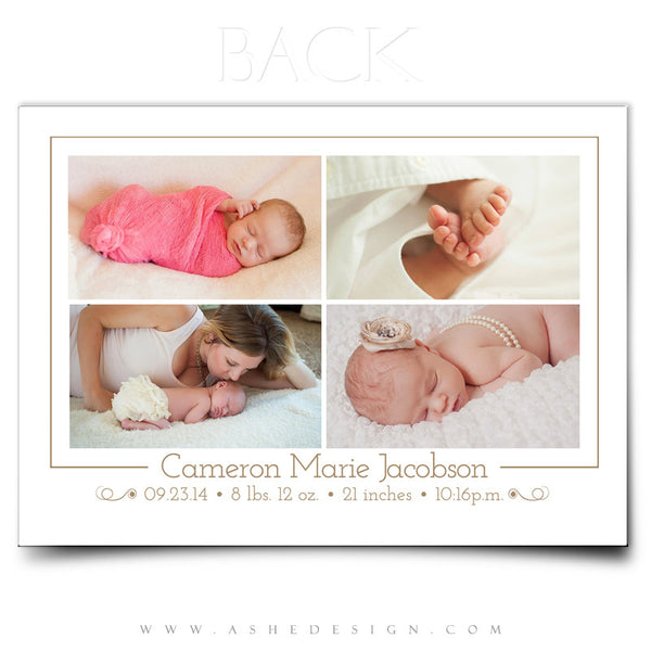 5x7 Birth Announcement | Looking Down On Heaven back