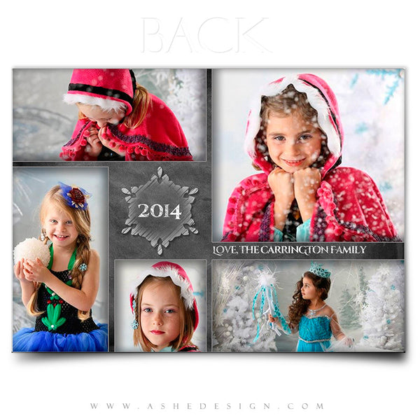 Christmas Card Photoshop Templates | Chalkboard Snowmen back