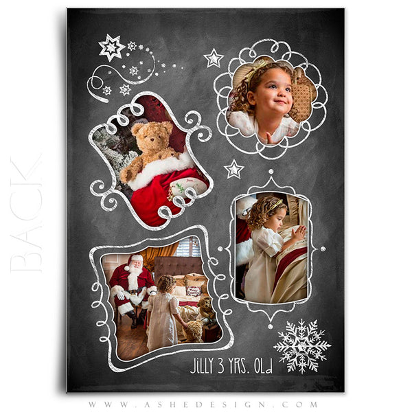 Christmas Card Photoshop Templates | Chalkboard Doodle Frames back