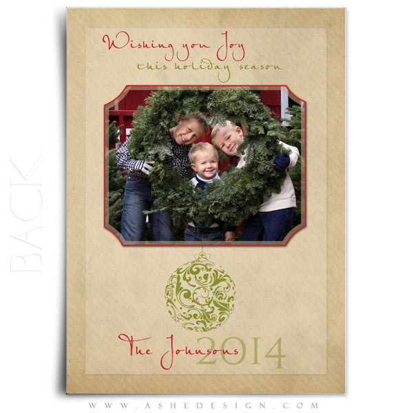 Christmas 5x7 Flat Card Templates | Joy To The World back