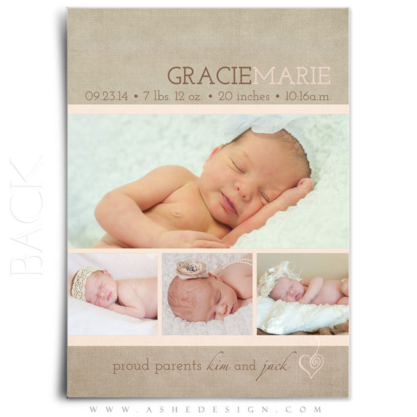 Girl Birth Announcement Template | Gracie Marie back